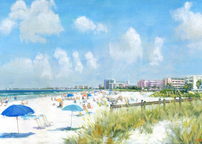 Crescent Beach Greeting Card featuring the painting Crescent Beach On Siesta Key by Shawn McLoughlin