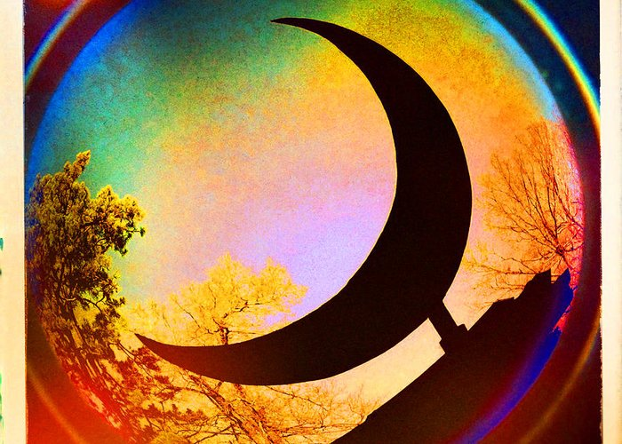 Crescent Moon Greeting Card featuring the photograph Crescent Moon Over Eureka Springs by Garry McMichael