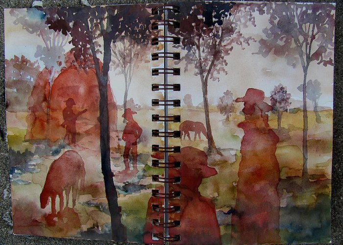 Cowboys Crimson Red Ghosts Trees Autumn American West Plains Prairie Horses Animals Hats Landscape Portraits Figures Dream-like Surrealism Fantasy Daydream Scenery Nature Greeting Card featuring the painting Crimson Cowboys by James Huntley