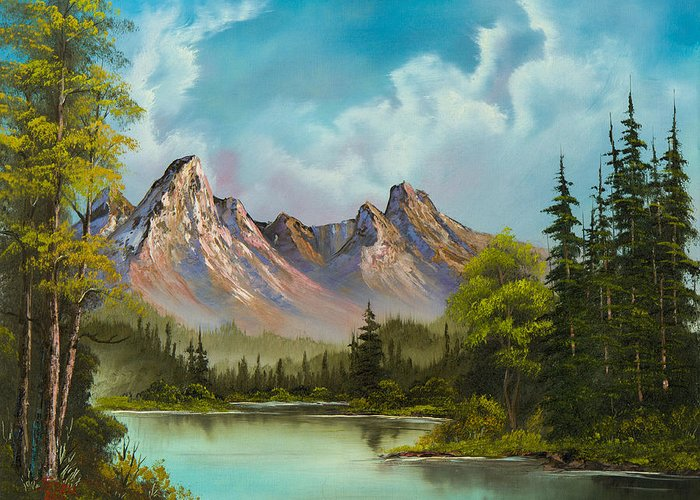 Landscape Greeting Card featuring the painting Crimson Mountains by Chris Steele