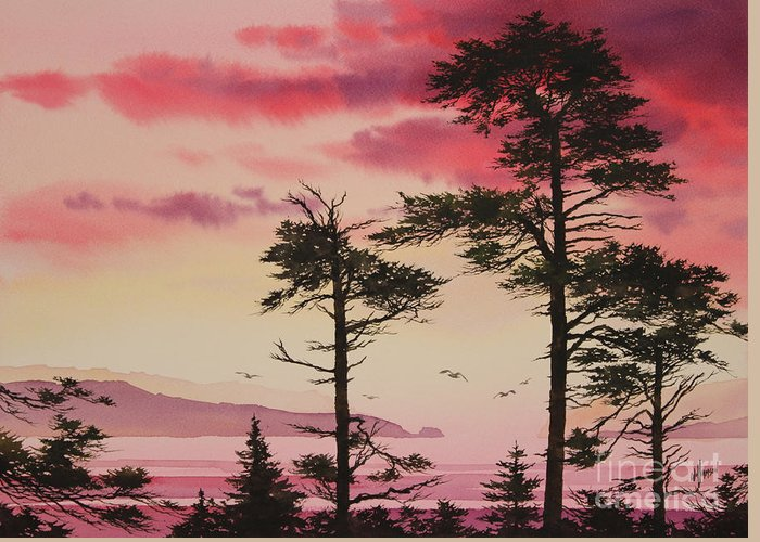 Sunset Greeting Card featuring the painting Crimson Sunset Splendor by James Williamson