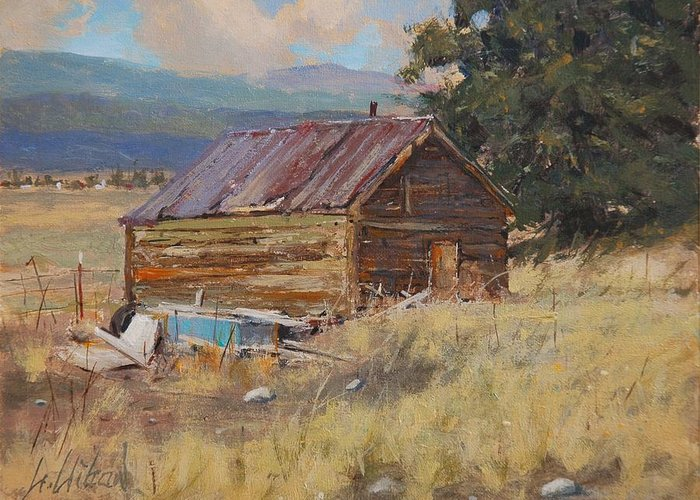 Landscape Greeting Card featuring the painting Cripple Creek Cabin by Greg Clibon