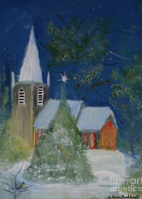 Christmas Holiday Scenery Greeting Card featuring the painting Crisp Holiday Night by Louise Burkhardt