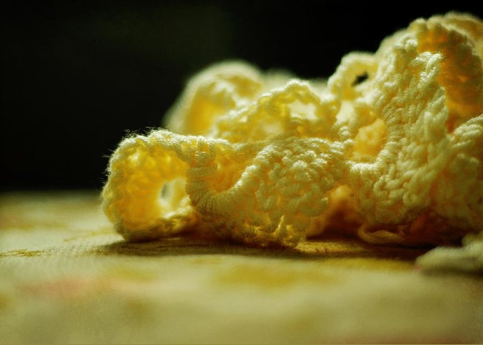 Crochet Greeting Card featuring the photograph Crocheted Sunshine by Rebecca Sherman