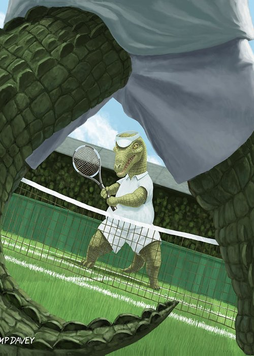 Crocodiles Greeting Card featuring the painting Crocodiles Playing Tennis At Wimbledon by Martin Davey