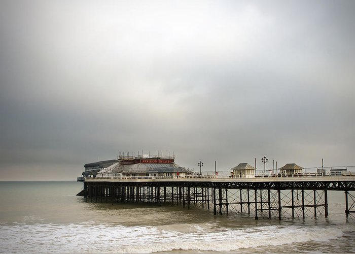 Amusements Greeting Card featuring the photograph Cromer Pier On A Muggy Cold Day by Fizzy Image