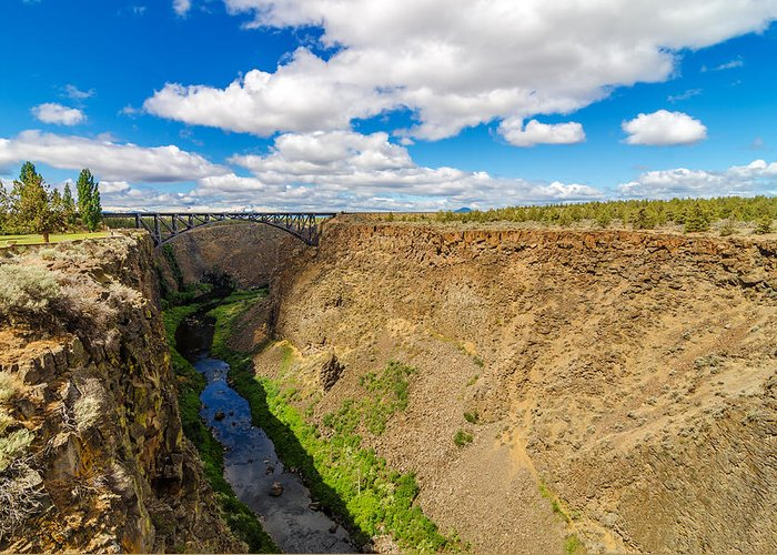 Bridge Greeting Card featuring the photograph Crooked River Canyon And Bridge by Jess Kraft