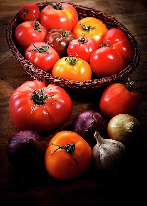 Yield Sign Greeting Card featuring the photograph Crop Tomatoes by Letty17