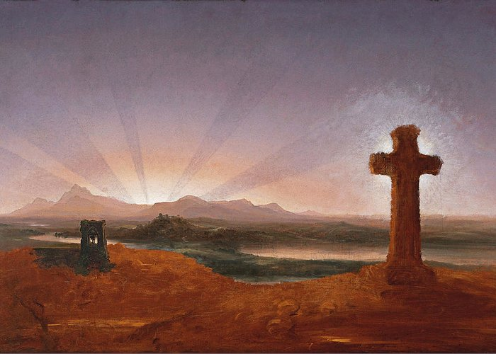 Thomas Cole Greeting Card featuring the painting Cross At Sunset by Thomas Cole