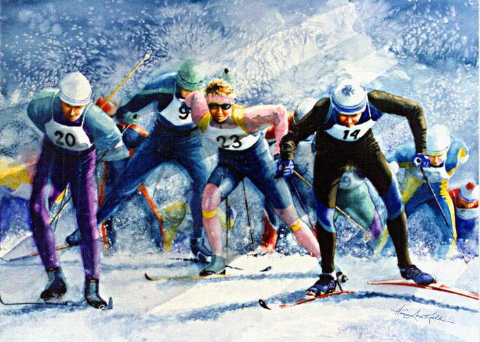 X-country Skiing Greeting Card featuring the painting Cross-country Challenge by Hanne Lore Koehler