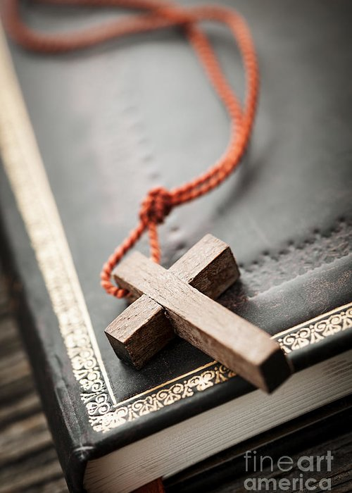 Cross Greeting Card featuring the photograph Cross On Bible by Elena Elisseeva