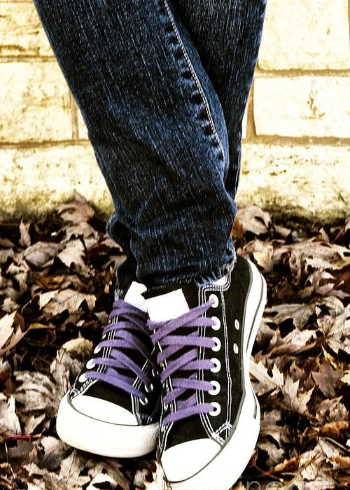 Teen Greeting Card featuring the photograph Crossed Feet Of Teen Girl by Birgit Tyrrell