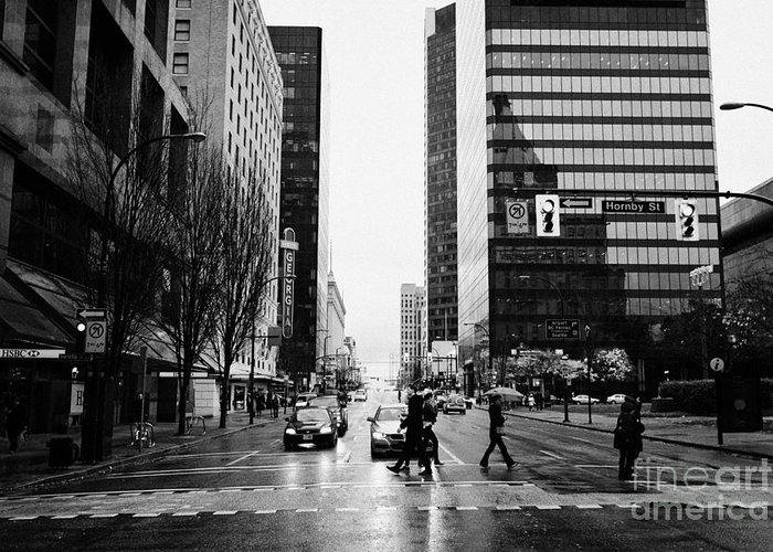 Crosswalk Greeting Card featuring the photograph crosswalk at west georgia and hornby downtown in the rain Vancouver BC Canada by Joe Fox