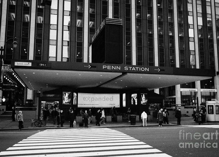 Usa Greeting Card featuring the photograph Crosswalk Leading To Penn Station And Madison Square Garden Seventh Avenue New York by Joe Fox