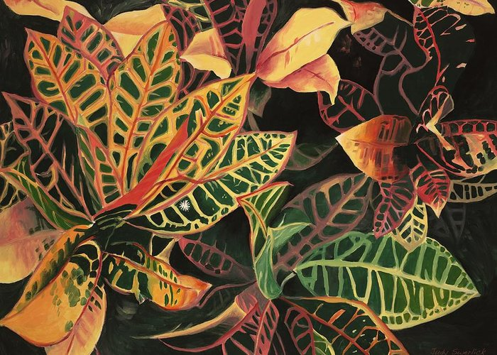 Croton Leaves Greeting Card featuring the painting Croton Leaves by Judy Swerlick