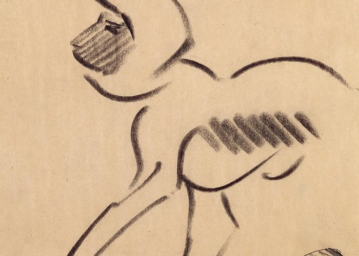 Crouching Monkey Greeting Card featuring the pastel Crouching Monkey by Henri Gaudier-Brzeska