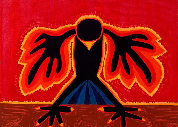 Painting Greeting Card featuring the painting Crow Rising Original Painting by Sol Luckman