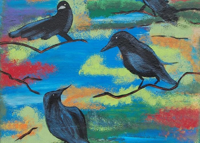 Abstract Greeting Card featuring the painting Crows by Laura Webb