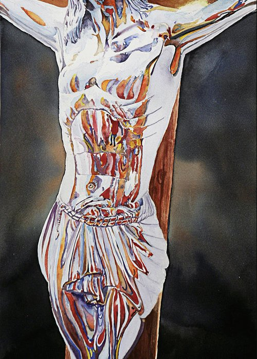 Crucifix Greeting Card featuring the painting Crucifijo En Plata by Patrick DuMouchel