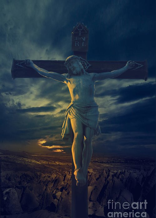 Jesus Greeting Card featuring the digital art Crucifixcion by Jelena Jovanovic