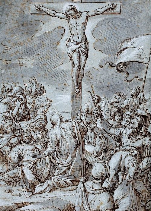 Crucifixion Greeting Card featuring the drawing Crucifixion by Johann or Hans von Aachen