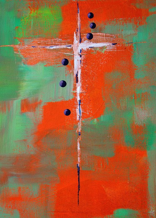 Cruciform Greeting Card featuring the painting Cruciform 2 by Nancy Merkle