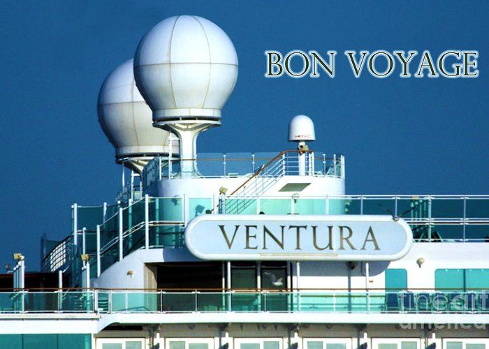 Ship Greeting Card featuring the photograph Cruise Ship Ventura's Radar Domes by Terri Waters