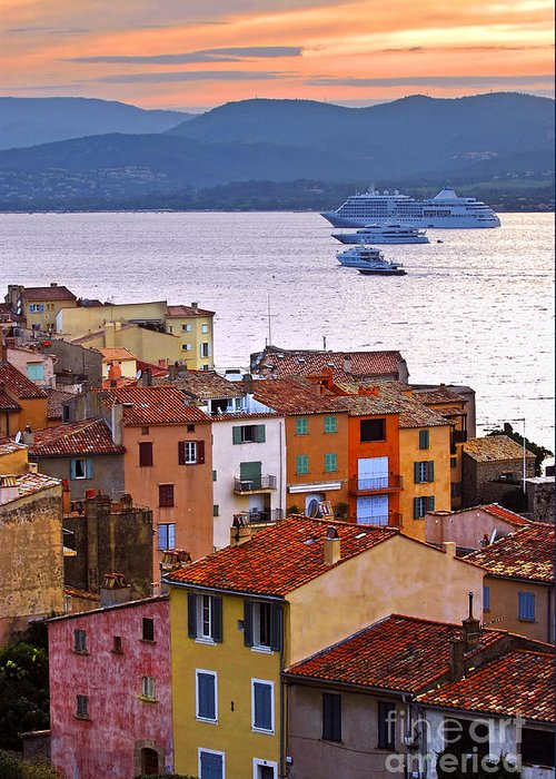 Tropez Greeting Card featuring the photograph Cruise Ships At St.tropez by Elena Elisseeva