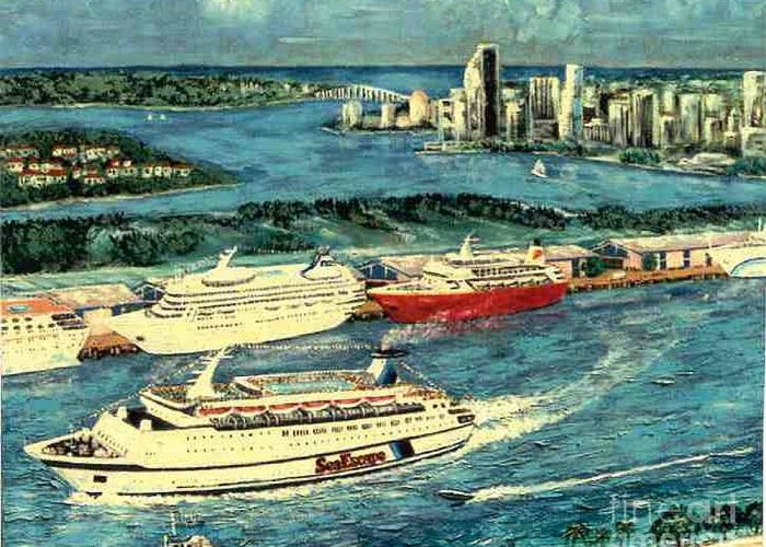 Miami Florida Greeting Card featuring the painting Cruising Miami by George I Perez