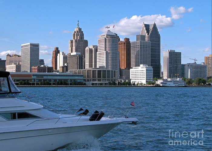 Detroit Greeting Card featuring the photograph Cruising Past Detroit by Ann Horn