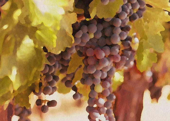 Grapes Greeting Card featuring the drawing Crush Time by Artist and Photographer Laura Wrede