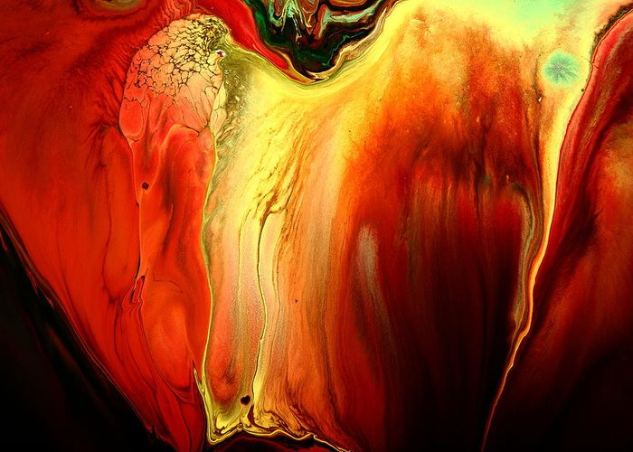 Red Greeting Card featuring the painting Crying For Love Modern Abstract Art By Kredart by Serg Wiaderny