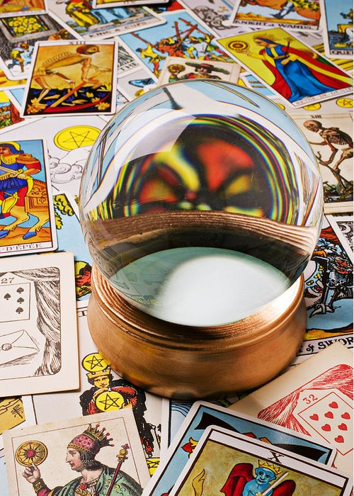Crystal Ball Greeting Card featuring the photograph Crystal Ball And Tarot Cards by Garry Gay