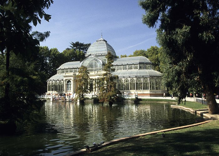 Retreat Greeting Card featuring the photograph Crystal Palace Madrid by Jim Wallace