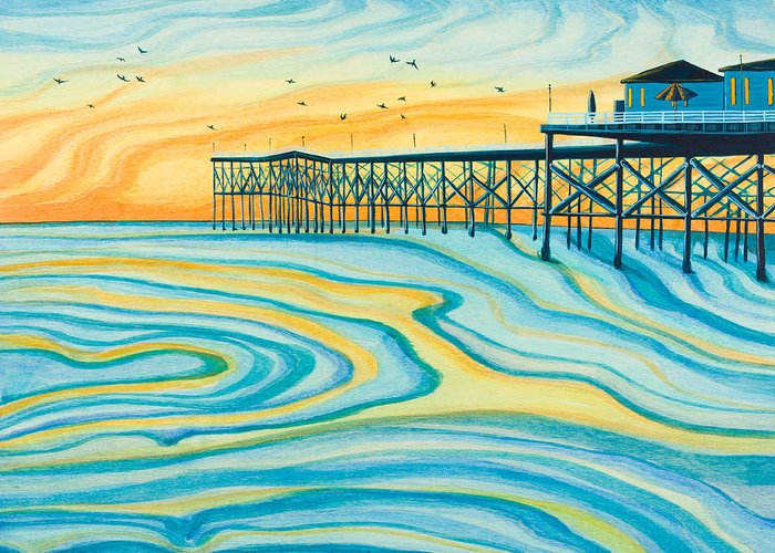 Surf Silhouette Paintings Greeting Cards