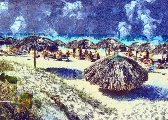 Cuba Greeting Card featuring the painting Cuban Beach by Odon Czintos