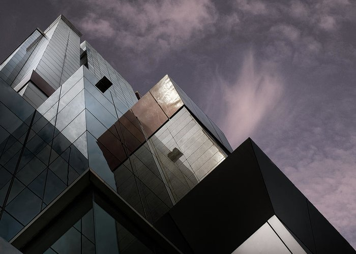 Architecture Greeting Card featuring the photograph Cubic Reflection. by Harry Verschelden