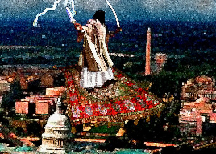 Washington Greeting Card featuring the painting Cubist Jihad by Jann Paxton