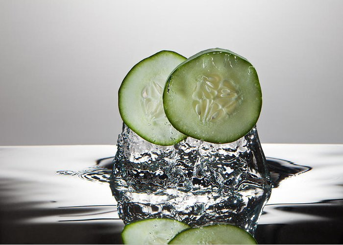 Cucumber Greeting Card featuring the photograph Cucumber Freshsplash by Steve Gadomski