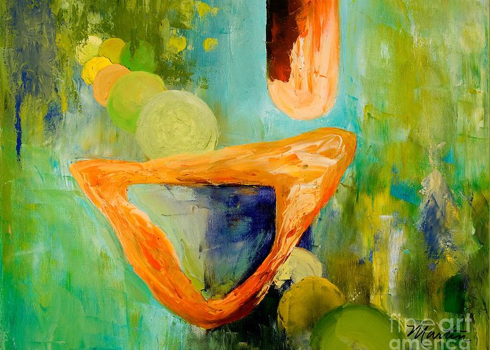 Abstract Greeting Card featuring the painting Cue L'orange by Larry Martin