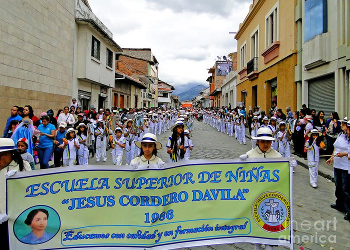 Marching Greeting Card featuring the photograph Cuenca Kids 326 by Al Bourassa