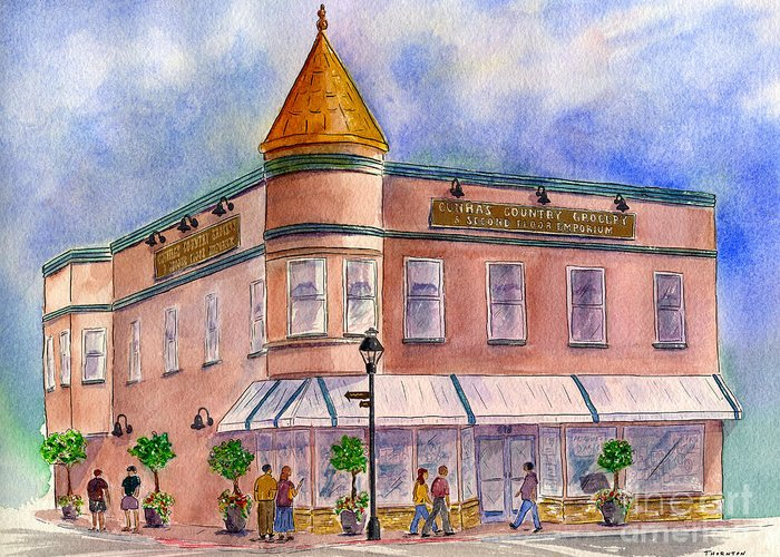 Half Moon Bay Greeting Card featuring the painting Cunha's Country Store by Diane Thornton
