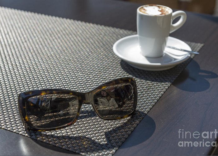 Cup Of Coffee Greeting Card featuring the photograph Cup Of Coffee And Sunglasses by Mats Silvan