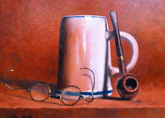 Cups Greeting Card featuring the painting Cup Pipe and Glasses by Jim Gola