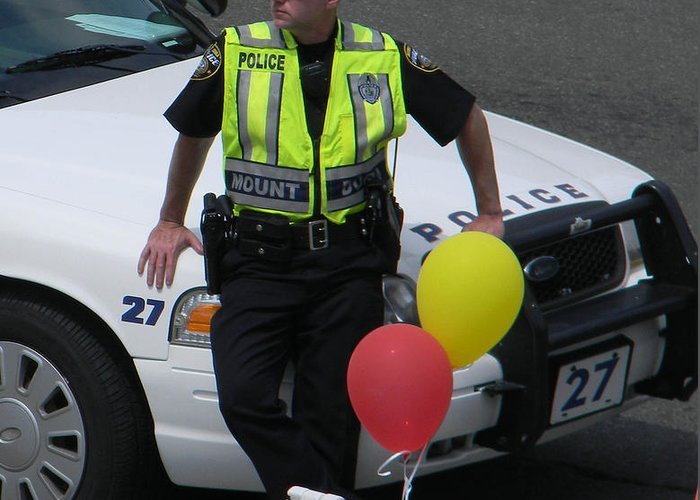 Policeman Greeting Card featuring the photograph Cupcake And Balloon Checkpoint by Christy Usilton
