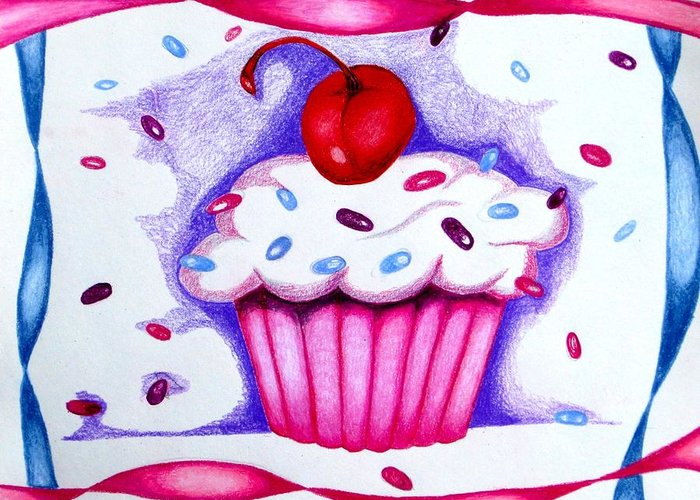 Cupcake Greeting Card featuring the drawing Cupcake And Ribbons by Kori Vincent