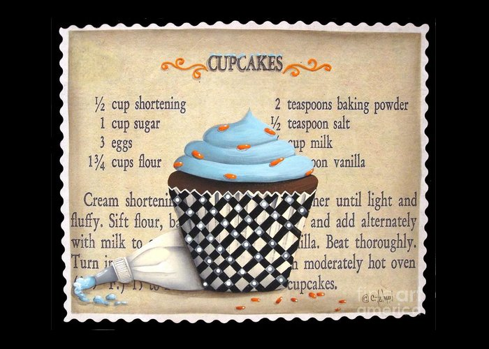 Folk Art Greeting Card featuring the painting Cupcake Masterpiece by Catherine Holman