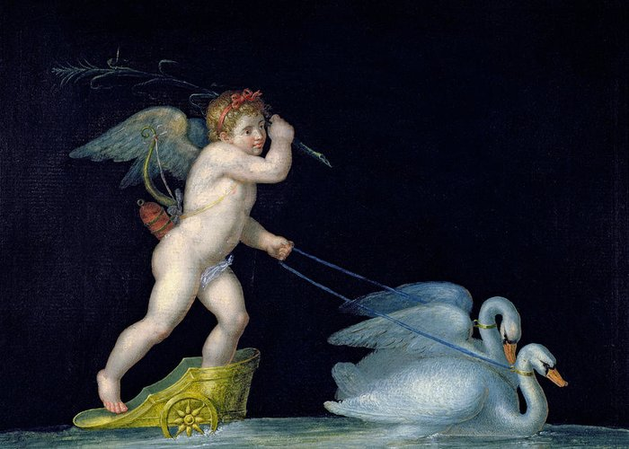 Eros Greeting Card featuring the painting Cupid Being Led By A Pair Of Swans by Michelangelo Maestri