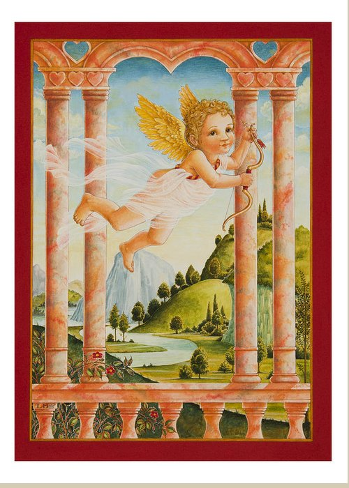 Valentine Greeting Card featuring the painting Cupid by Lynn Bywaters