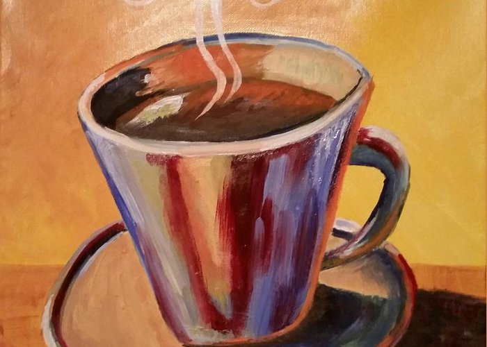 Coffee Greeting Card featuring the painting Cuppa Josephine by Joan Shepard